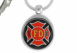 "<Br>                 LEAD & NICKEL FREE!!<Br>   W17361KC - ""FIRE DEPT"" MALTESE <br>                      KEY CHAIN $4.94"