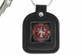 "<Br>           LEAD & NICKEL FREE!!<Br>   W17362KC - RED ENAMELED<Br>""FIRE DEPT"" MALTESE GENUINE <BR>           LEATHER KEY CHAIN<Br>                            $8.90"
