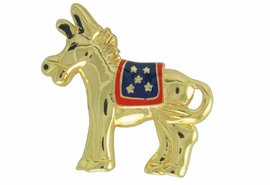 <Br>                LEAD & NICKEL FREE!!<Br>W17477P - GOLD TONE DEMOCRATIC<BR>        PARTY PATRIOTIC DONKEY<BR>        PIN FROM $5.63 TO $12.50