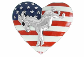 <Br>                LEAD & NICKEL FREE!!<Br>W17478P - HEART SHAPED SILVER TONE <BR>      DEMOCRATIC PARTY PATRIOTIC<BR>  DONKEY PIN FROM $5.63 TO $12.50
