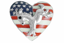 <Br>                LEAD & NICKEL FREE!!<Br>W17480P - SMALL HEART SHAPED<BR>          SILVER TONE DEMOCRATIC <BR>         PARTY PATRIOTIC  DONKEY <BR>      TACK PIN FROM $3.35 TO $7.50