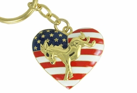 <Br>                LEAD & NICKEL FREE!!<Br>W17483KC - HEART SHAPED GOLD TONE <BR>      DEMOCRATIC PARTY PATRIOTIC<BR>DONKEY KEY CHAIN FROM $5.63 TO $12.50