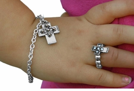 <bR>                LEAD & NICKEL FREE!!<Br>   W17553NBR - CHILDREN'S CROSS <Br>             NECKLACE, BRACELET, & <bR>       RING SET FROM $3.94 TO $8.75