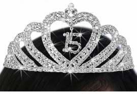 "<Br>          LEAD & NICKEL FREE!!<Br>  W17778T - ""15"" HEART WAVE<Br>                 QUINCEAÑERA<Br>AUSTRIAN CRYSTAL SET TIARA<Br>       FROM $16.90 TO $37.50"