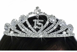 "<bR>              LEAD & NICKEL FREE!!<Br>W17779T - ""15"" AUSTRIAN CRYSTAL<Br>                      QUINCEAÑERA<Br>     TIARA FROM $9.00 TO $20.00"