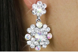 <BR>              LEAD & NICKEL FREE!!<bR>    W18325E - BRILLIANT AURORA<Br>     BOREALIS AUSTRIAN CRYSTAL<Br>DOUBLE-FLOWER DROP EARRINGS<Br>              FROM $3.94 TO $8.75