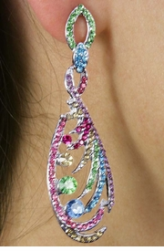 <Br>             LEAD & NICKEL FREE!!<Br>     W18336E - STUNNING MULTI<Br>COLORED RHINESTONE EARRINGS<Br>            FROM $7.85 TO $17.50