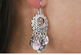 <Br>                  LEAD & NICKEL FREE!!<Br>       W18367E - SILVER TONE CIRCLE  <Br>       EARRINGS ACCENTED WITH PINK<BR>              STONES AND SEA GLASS<br>                FROM $7.31 TO $16.25