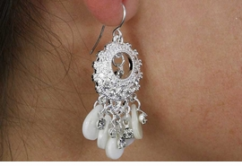 <Br>                  LEAD & NICKEL FREE!!<Br>       W18369E - SILVER TONE CIRCLE  <Br>       EARRINGS ACCENTED WITH CLEAR<BR>              STONES AND SEA GLASS<br>                FROM $7.31 TO $16.25