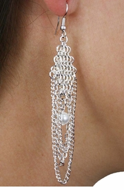 <Br>                LEAD & NICKEL FREE!!<Br>W18387E - BEAUTIFUL CHAIN LINK<Br>  SYNTHETIC PEARL DROP EARRINGS<Br>               FROM $5.63 TO $12.50