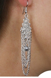 <Br>                LEAD & NICKEL FREE!!<Br>W18388E - BEAUTIFUL CHAIN LINK GREY<Br>  SYNTHETIC PEARL DROP EARRINGS<Br>               FROM $5.63 TO $12.50