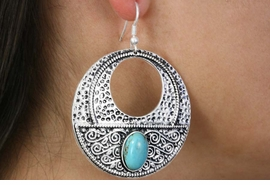 <Br>               LEAD & NICKEL FREE!!<BR>      W18429E - ANTIQUE SILVER TONE <br> EARRINGS ACCENTED WITH TURQUOISE <BR>         STONE FROM $6.19 TO $13.75