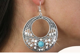 <Br>               LEAD & NICKEL FREE!!<BR>      W18430E - ANTIQUE SILVER TONE <br> EARRINGS ACCENTED WITH TURQUOISE <BR>        AND CLEAR FACETED STONES<BR>             FROM $6.19 TO $13.75