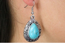 <Br>               LEAD & NICKEL FREE!!<BR>      W18474E - ANTIQUE SILVER TONE <br> EARRINGS ACCENTED WITH TURQUOISE <BR>         STONE FROM $2.81 TO $6.25