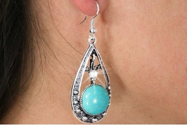 <Br>               LEAD & NICKEL FREE!!<BR>      W18475E - ANTIQUE SILVER TONE <br> EARRINGS ACCENTED WITH TURQUOISE <BR>         STONE FROM $2.81 TO $6.25