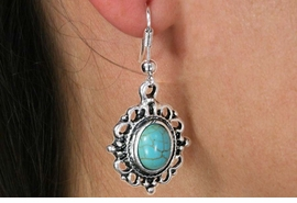 <Br>               LEAD & NICKEL FREE!!<BR>      W18476E - ANTIQUE SILVER TONE <br> EARRINGS ACCENTED WITH TURQUOISE <BR>         STONE FROM $2.25 TO $5.00