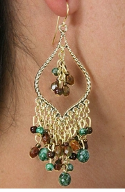 <Br>                  LEAD & NICKEL FREE!!<Br>W18503E - GOLD TONE CHANDELIER<Br>              WITH JADE AND BROWN <BR>              TOPAZ COLORED BEADED<Br>      EARRINGS FROM $7.31 TO $16.25