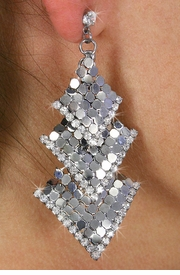 <Br>                  LEAD & NICKEL FREE!!<Br>       W18529E - SILVER TONE MESH <Br>       AND AUSTRIAN CRYSTAL EARRINGS <BR>                FROM $5.63 TO $12.50