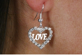 "<Br>                LEAD & NICKEL FREE!!<Br>       W18572E - SILVER TONE HEART <Br>           AUSTRIAN CRYSTAL ""LOVE""  <BR>       EARRINGS FROM $1.69 TO $4.25"