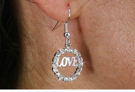 "<Br>                  LEAD & NICKEL FREE!!<Br>       W18573E - SILVER TONE AUSTRIAN  <Br>          CRYSTAL ""LOVE"" EARRINGS <BR>                FROM $1.69 TO $4.25"