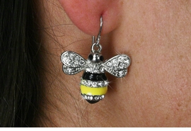 <Br>                   LEAD & NICKEL FREE!!<Br>  W18815E - CLEAR FACETED CRYSTAL <BR>     BLACK  AND YELLOW BUMBLE BEE  <Br>        EARRING FROM $3.35 TO $7.50