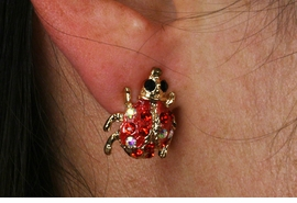 <Br>                   LEAD & NICKEL FREE!!<Br>             W18817E - GOLD TONE RED <BR>            FACETED CRYSTAL LADYBUG <Br>        EARRING FROM $2.25 TO $5.00