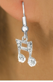 <BR>                           LEAD & NICKEL FREE!!<BR>W18977E - CRYSTAL SIXTEENTH MUSIC NOTE<Br>              EARRINGS FROM $2.25 TO $5.00