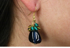 <Br>                  LEAD & NICKEL FREE!!<Br>      W19041E - ANTIQUE GOLD TONE <BR>        WITH COBALT BLUE BEAD <Br>   EARRINGS FROM $2.81 TO $6.25