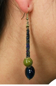 <Br>                  LEAD & NICKEL FREE!!<Br>      W19042E -  GOLD TONE <BR>         TEAL AND OLIVE BEADED <Br>   EARRINGS FROM $3.35 TO $7.50