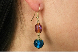 <Br>                  LEAD & NICKEL FREE!!<Br>      W19043E - GOLD TONE IRIDESCENT  <BR>      TOPAZ AND TEAL BLUE BEADED <Br>         EARRINGS FROM $2.81 TO $6.25