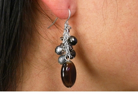 <Br>                  LEAD & NICKEL FREE!!<Br>W19069E - SILVER TONE BROWN BEAD<BR>         AND FACETED BEAD CLUSTER<Br>    EARRINGS FROM $5.06 TO $11.25