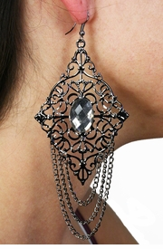 <Br>                LEAD & NICKEL FREE!!<Br>W19188E - DETAILED HEMATITE TONE <BR>  AND GENUINE AUSTRIAN CRYSTAL<Br>    EARRINGS FROM $2.25 TO $5.00
