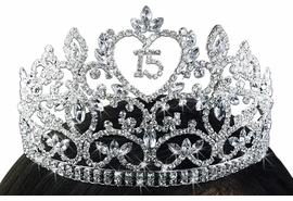 "<Br>          LEAD & NICKEL FREE!!<Br>  W19228T - ""15"" HEART CROWN<Br>          QUINCEAÑERA / 15TH BIRTHDAY<Br>AUSTRIAN CRYSTAL SET TIARA<Br>       FROM $20.81 TO $46.25"