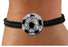 <BR>       LEAD & NICKEL FREE!! <BR>W19722B - AUSTRIAN CRYSTAL <BR>ADJUSTABLE SOCCER BALL SHAMBALLA <BR>    BRACELET FROM $6.19 TO $13.75 �2012
