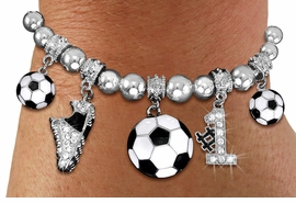 <BR>       LEAD & NICKEL FREE!! <BR>W19723B - AUSTRIAN CRYSTAL <BR> #1 SOCCER THEMED BRACELET <BR>    FROM $7.31 TO $16.25 �2012