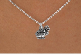 "<Br>               LEAD & NICKEL FREE!!<BR> W878SN - LADYBUG ON A CHILDREN'S 12""<Br>     OR ADULT 18' CHAIN NECKLACE<BR>              FROM $5.63 TO $12.50"