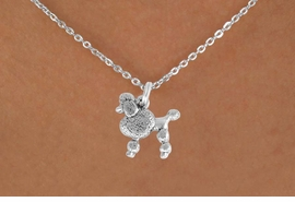"<Br>               LEAD & NICKEL FREE!!<BR> W892SN - POODLE ON A CHILDREN'S 12""<Br>     OR ADULT 18' CHAIN NECKLACE<BR>              FROM $5.63 TO $12.50"