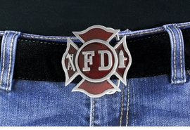 <Br>MADE IN THE USA, LEAD & NICKEL FREE!!<Br>  W17558BK - FIRE DEPARTMENT SHIELD<bR>   PEWTER & RED ENAMEL BELT BUCKLE<bR>                                   $11.81