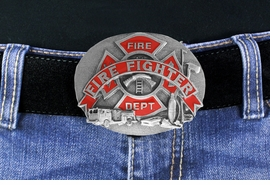 <Br>MADE IN THE USA, LEAD & NICKEL FREE!!<Br>W17559BK - FIRE FIGHTER DEPARTMENT<bR>    PEWTER  & FIRE ENGINE RED ENAMEL<Br>                     BELT BUCKLE  $11.81