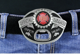 "<Br>MADE IN THE USA, LEAD & NICKEL FREE!!<Br> W19028BK - FIRE DEPARTMENT ""OFFICIAL <Br>TAILGATER"" BELT BUCKLE WITH BOTTLE <Br>     OPENER YOUR LOW PRICE IS $15.85"