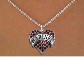 "<BR>       MARINE JEWELRY  WHOLESALE<bR>                   EXCLUSIVELY OURS!! <Br>              AN ALLAN ROBIN DESIGN!! <BR>     CLICK HERE TO SEE 1000+ EXCITING <BR>           CHANGES THAT YOU CAN MAKE! <BR>        LEAD, NICKEL & CADMIUM FREE!! <BR> W1478SN - SILVER TONE ""MARINES"" RED <BR>     CRYSTAL HEART CHARM AND NECKLACE <BR>            FROM $5.55 TO $9.00 �2013"