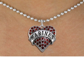 "<BR>       MARINE JEWELRY  WHOLESALE<bR>                   EXCLUSIVELY OURS!! <Br>              AN ALLAN ROBIN DESIGN!! <BR>     CLICK HERE TO SEE 1000+ EXCITING <BR>           CHANGES THAT YOU CAN MAKE! <BR>        LEAD, NICKEL & CADMIUM FREE!! <BR> W1478SN - SILVER TONE ""MARINES"" RED <BR>     CRYSTAL HEART CHARM AND NECKLACE <BR>            FROM $5.90 TO $9.35 �2013"