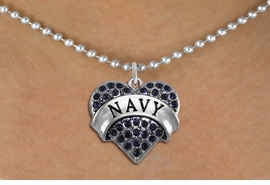 "<BR>      NAVY BLUE NECKLACE  WHOLESALE  <bR>                   EXCLUSIVELY OURS!! <Br>              AN ALLAN ROBIN DESIGN!! <BR>     CLICK HERE TO SEE 1000+ EXCITING <BR>           CHANGES THAT YOU CAN MAKE! <BR>        LEAD, NICKEL & CADMIUM FREE!! <BR> W1479SN - SILVER TONE ""NAVY"" NAVY <BR>     CRYSTAL HEART CHARM AND NECKLACE <BR>            FROM $5.90 TO $9.35 �2013"