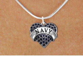 "<BR>      NAVY BLUE NECKLACE  WHOLESALE  <bR>                   EXCLUSIVELY OURS!! <Br>              AN ALLAN ROBIN DESIGN!! <BR>     CLICK HERE TO SEE 1000+ EXCITING <BR>           CHANGES THAT YOU CAN MAKE! <BR>        LEAD, NICKEL & CADMIUM FREE!! <BR> W1479SN - SILVER TONE ""NAVY"" NAVY <BR>     CRYSTAL HEART CHARM AND NECKLACE <BR>            FROM $5.40 TO $9.85 �2013"