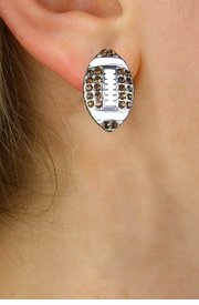 NEW PETITE CRYSTAL 3 DIMENSIONAL AGAINST<BR>             THE EAR, POST FOOTBALL EARRINGS<BR>                 W21376E FROM $6.75 TO $12.50