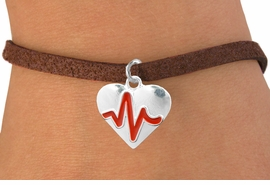 "<BR>                                  NICKEL FREE & ADJUSTABLE NECKLACE ! <BR>                                                   ""THE PERFECT GIFT"",<BR>                         ""Your Love Makes My Heart Beat"","" I Love You"", Or<BR>                In Recognition Of ""Women's Or Children's Heart Disease""<BR>                    "" HEARTBEAT ""ADJUSTABLE BROWN SUEDE BRACELET<BR>                               AN ORIGINAL ALLAN ROBIN CUSTOM DESIGN<br>                                          WHOLESALE CHARM BRACELET <BR>                                        LEAD, CADMIUM & NICKEL FREE!!  <BR>                                     W21563B-ADJUSTABLE BROWN SUEDE<BR>                             BRACELET FROM $4.90 TO $5.85 EACH! ©2015"