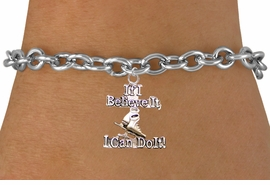 "<BR>         "" If I Believe It, I Can Do It! "" ICE SKATING TOGGLE CHAIN BRACELET<BR>                               AN ORIGINAL ALLAN ROBIN CUSTOM DESIGN<br>                                             WHOLESALE CHARM BRACELET <BR>                                           LEAD, CADMIUM & NICKEL FREE!!  <BR>                 W21543B-HIGH POLISHED, BRIGHT TOGGLE SILVER TONE  <BR>                             BRACELET FROM $4.50 TO $8.35 EACH! ©2015"