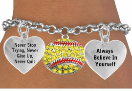 <BR>                      BEAUTIFUL YELLOW SOFTBALL CHARM BRACELET WHOLESALE <bR>                 W21416B - THE NEW WAY TO EXPRESS LOVE, MOTIVATION,<BR>          POSITIVE, AFFIRMATIVE EXPRESSIONS, THAT WILL GO PERFECTLY<br>        WITH ANOTHER POSITIVE AFFIRMATION CHARM IF YOU WANT  ONE,<BR>   MORE CHOICES LOOK BELOW,  CHARM BRACELET FROM $9.73 TO $14.58<BR>                                    CostumeJewelryWholesale.com �2014