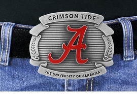 "<Br> OFFICIALLY LICENSED COLLEGE!!<Br>      W16881BK - UNIVERSITY OF<Br>ALABAMA ""CRIMSON TIDE"" LOGO<Br>               BELT BUCKLE FROM<Br>                                 $15.75"