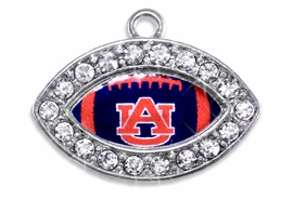 """<Br> OFFICIALLY LICENSED COLLEGIATE CHARM!! <Br>       CADMIUM, LEAD & NICKEL FREE!! <Br>   W1447SC - SILVER TONE AND CRYSTAL <BR>    MINI-FOOTBALL SHAPED CHARMS WITH <Br>     THE AUBURN UNIVERSITY """"AU"""" LOGO <BR>           FROM $3.25 TO $4.05 �2013"""